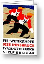 1933 Austrian Ski Race Poster Greeting Card