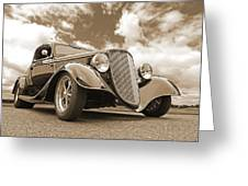 1934 Ford Coupe In Sepia Greeting Card