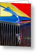 1934 Ford Deluxe Coupe Grille Emblems Greeting Card