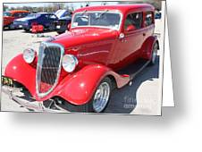 1934 Ford Greyhound Two Door Sedan Greeting Card