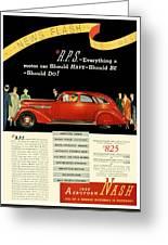 1935 - Nash Aeroform Automobile Advertisement - Color Greeting Card