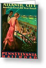 1935 Atlantic City Vintage Travel Art Greeting Card