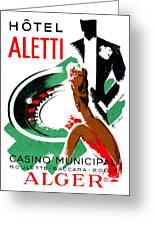 1935 Hotel Aletti Casino Algeria Greeting Card