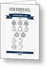 1935 India Rubber Ball Patent Drawing - Retro Navy Blue Greeting Card