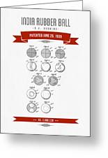 1935 India Rubber Ball Patent Drawing - Retro Red Greeting Card