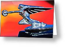 1935 Packard Hood Ornament -0295c Greeting Card