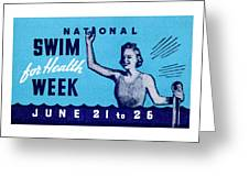 1935 Swim For Health Poster Greeting Card
