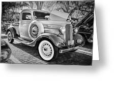 1936 Chevrolet Pick Up Truck Painted Bw   Greeting Card
