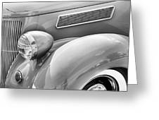 1936 Ford Cabriolet Bw Greeting Card
