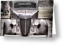 1936 Ford Roadster Classic Car Or Automobile Painting In Color  3120.02 Greeting Card