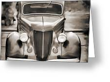 1936 Ford Roadster Classic Car Or Automobile Painting In Sepia  3120.01 Greeting Card