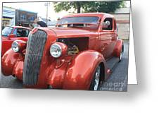 1936 Plymouth Two Door Sedan Front And Side View Greeting Card