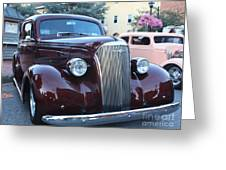 1937 Chevy Two Door Sedan Front And Side View Greeting Card