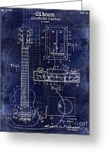 1937 Gibson Electric Guitar Patent Drawing Blue Greeting Card