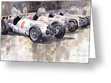 1937 Monaco Gp Team Mercedes Benz W125 Greeting Card