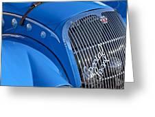 1937 Peugeot 402 Darl'mat Legere Special Sport Roadster Recreation Grille Emblem Greeting Card