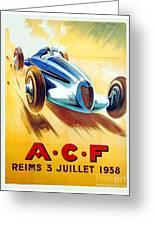 1938 - Automobile Club De France Poster - Reims - George Ham - Color Greeting Card