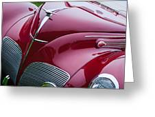1938 Lincoln-zephyr Convertible Coupe Grille - Hood Ornament - Emblem Greeting Card