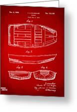 1938 Rowboat Patent Artwork - Red Greeting Card