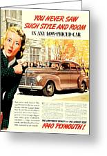 1939 - Plymouth Automobile Advertisement - Color Greeting Card