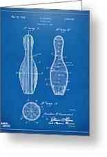 1939 Bowling Pin Patent Artwork - Blueprint Greeting Card