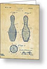 1939 Bowling Pin Patent Artwork - Vintage Greeting Card
