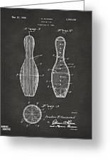 1939 Bowling Pin Patent Artwork - Gray Greeting Card