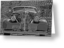 1939 Chevy Immenent Front Bw Art Greeting Card