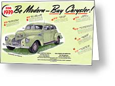 1939 Imperial Vintage Automobile Ad Greeting Card
