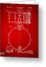 1939 Snare Drum Patent Red Greeting Card