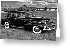 1940 Cadilac Bw Greeting Card