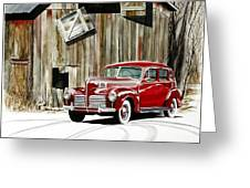 1940 Hudson And Barn Greeting Card
