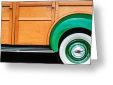 1940 Packard 120 Woody Station Wagon Wheel Emblem Greeting Card