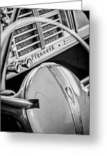 1940 Plymouth Deluxe Woody Wagon Steering Wheel Emblem -0116bw Greeting Card