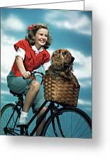 1940s 1950s Smiling Teen Girl Riding Greeting Card