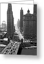 1940s Downtown Skyline Michigan Avenue Greeting Card