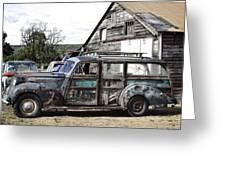 1940s Era Packard Wood-panel Wagon Greeting Card