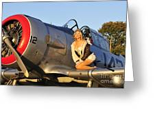 1940s Style Aviator Pin-up Girl Posing Greeting Card