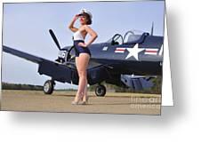 1940s Style Navy Pin-up Girl Posing Greeting Card