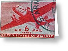 1941 - 1944 Six Cents Air Mail Stamp -  U. S. Army Cancelled Greeting Card