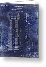 1941 Gibson Electric Guitar Patent Drawing Blue Greeting Card