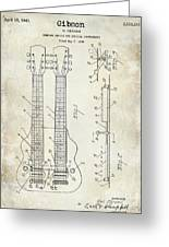 1941 Gibson Electric Guitar Patent Drawing Greeting Card