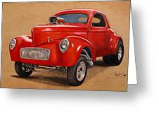 1941 Willys Gasser Coupe Drawing Greeting Card