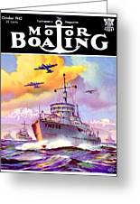 1942 - Motor Boating Magazine Cover - October - Color Greeting Card