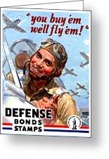 1944 - United States War Bonds And Stamps Poster - Wolrd War II - Color Greeting Card