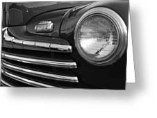 1946 Ford Deluxe 2 Door Sedan Head Light Greeting Card