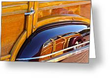 1947 Mercury Woody Reflecting Into 1947 Ford Woody Greeting Card