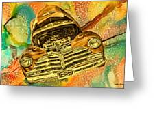 1948 Chev Gold Tie Dye Tilt Car Art Greeting Card