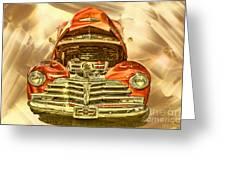 1948 Chev Red Gold Metal Art Greeting Card
