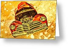 1948 Chevy Gold Acid Art Greeting Card